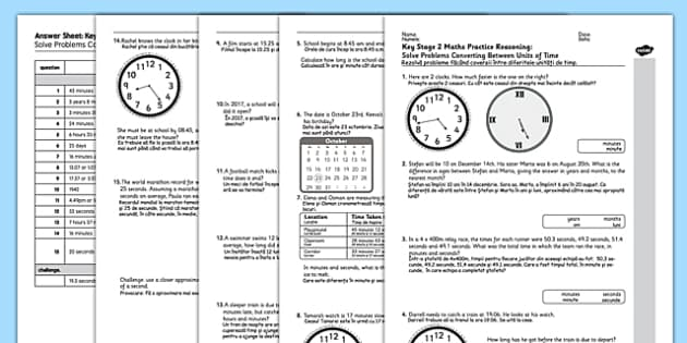 KS2 Reasoning Test Practice Solve Problems Converting Between Units of Time Romanian Translation - maths, assessment, quiz, measures