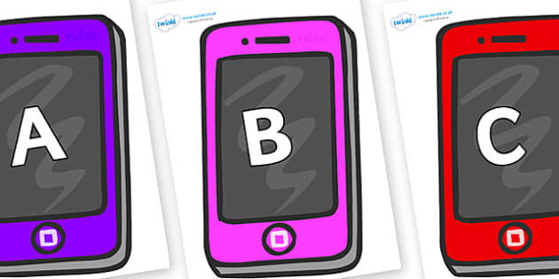 A-Z Alphabet on Mobile Telephones - A-Z, A4, display, Alphabet frieze, Display letters, Letter posters, A-Z letters, Alphabet flashcards