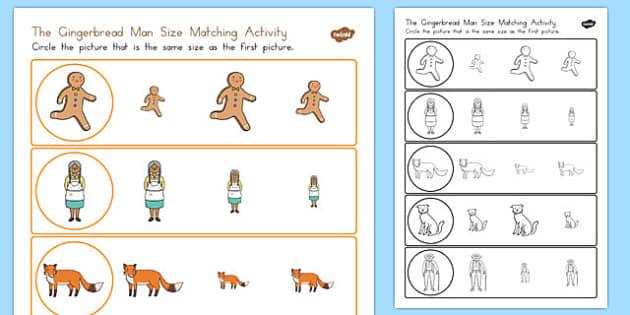 The Gingerbread Man Size Matching Worksheet - measurements, maths, australia, comparing, KS1, key stage 1