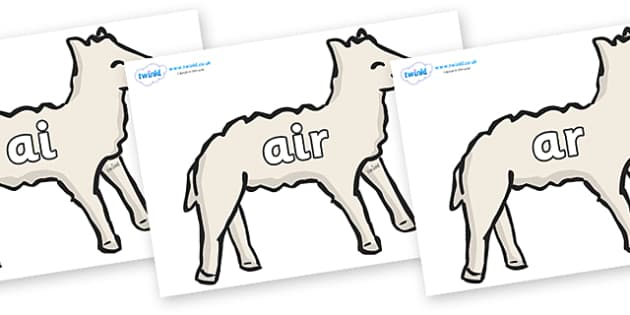 Phase 3 Phonemes on Lambs - Phonemes, phoneme, Phase 3, Phase three, Foundation, Literacy, Letters and Sounds, DfES, display