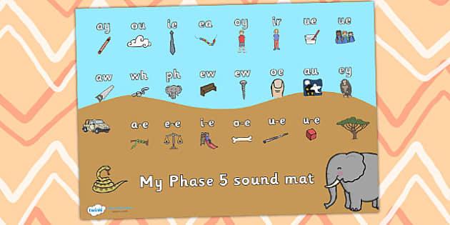 Safari Themed Phase 5 Sound Mat - safari, on safari, safari sound mat, safari phase 5 sound mat, safari themed sound mat, letters and sounds, phonics