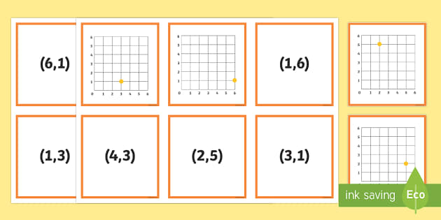 Coordinates Matching Cards - Position, direction, coordinates, first quadrant
