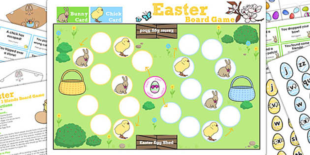 Phase 3 Sounds Easter Bunny Hop Board Game - activity, activities