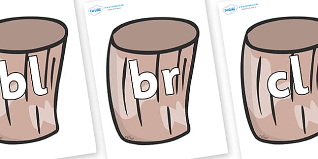 Initial Letter Blends on Drums - Initial Letters, initial letter, letter blend, letter blends, consonant, consonants, digraph, trigraph, literacy, alphabet, letters, foundation stage literacy