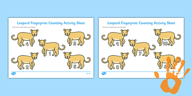 Leopard Fingerprint Counting Activity Sheet Pack - EYFS activities, number, EAD, safari, savannah, zoo, worksheet