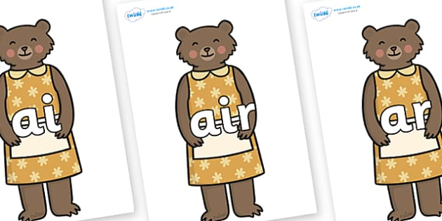 Phase 3 Phonemes on Mummy Bear - Phonemes, phoneme, Phase 3, Phase three, Foundation, Literacy, Letters and Sounds, DfES, display
