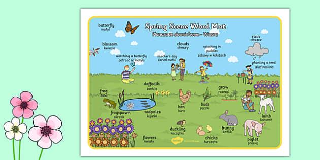 Spring Scene Word Mat Polish Translation - polish, spring, scene word, mat, word mat, scene