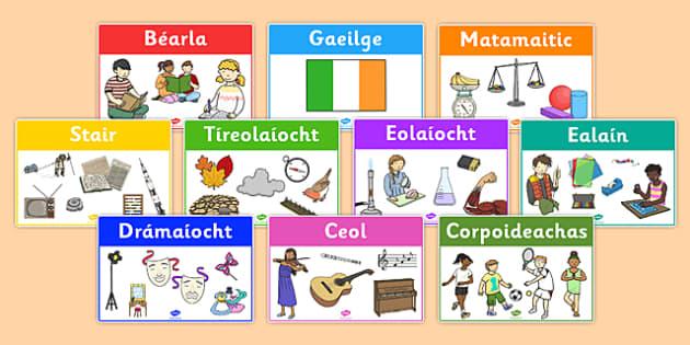 Irish Classroom Area Signs for the Irish Curriculum - irish, classroom area signs, irish curriculum