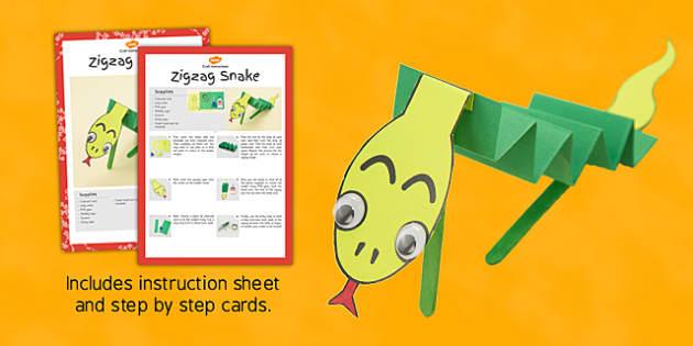 Zigzag Snake Craft Instructions - snakes, guide, zigzag, instructions
