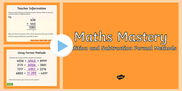 Year 5, Addition and Subtraction Formal Methods Maths Mastery Activities PowerPoint