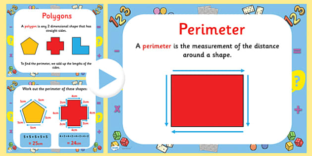 How to Calculate Polygon Perimeters PowerPoint - polygons, polygons powerpoint, polygon perimeters powerpoint, shapes powerpoint, polygon perimeters, ks2