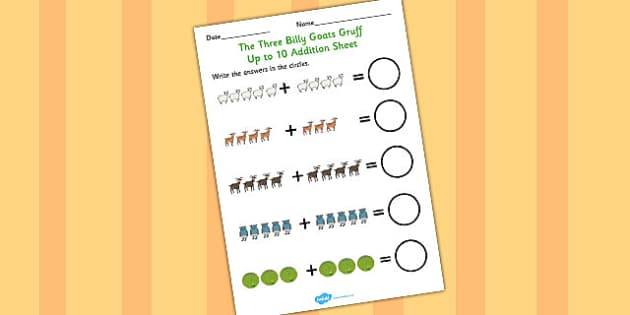 The Three Billy Goats Gruff Up to 10 Addition Sheet - addition