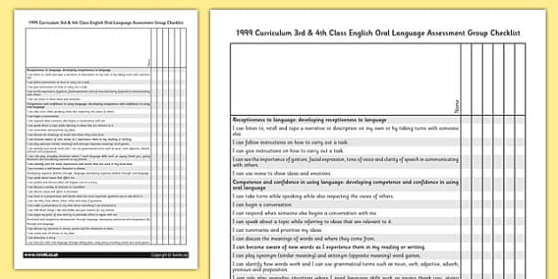 1999 Curriculum 3rd & 4th Class English Oral Language Assessment Group Checklist - speaking and listening, Ireland, Irish