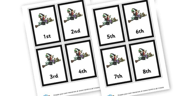 Room on the Broom Ordinal Number Cards - Room on the Broom, Storybook, Witch, Broomstick, Primary Resources