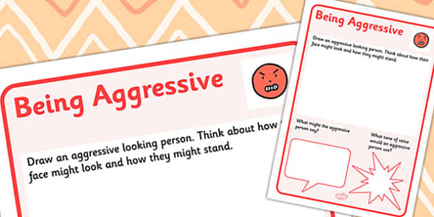 Aggressive Worksheet - worksheet, emotions, confidence