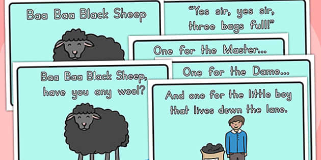 Baa Baa Black Sheep Story Sequencing Colour - nursery rhymes