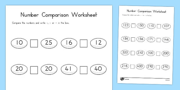 Rugby Number Comparison Worksheet Differentiated - australia