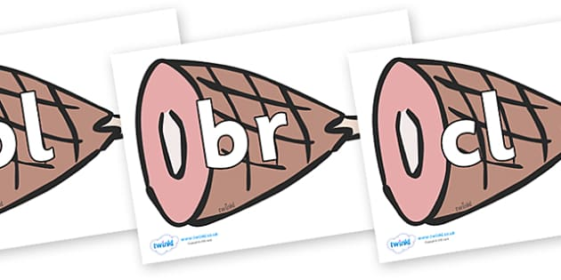Initial Letter Blends on Hams - Initial Letters, initial letter, letter blend, letter blends, consonant, consonants, digraph, trigraph, literacy, alphabet, letters, foundation stage literacy