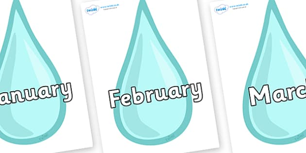 Months of the Year on Water Droplets - Months of the Year, Months poster, Months display, display, poster, frieze, Months, month, January, February, March, April, May, June, July, August, September