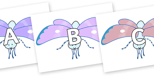 A-Z Alphabet on Blue Butterfly to Support Teaching on The Crunching Munching Caterpillar - A-Z, A4, display, Alphabet frieze, Display letters, Letter posters, A-Z letters, Alphabet flashcards