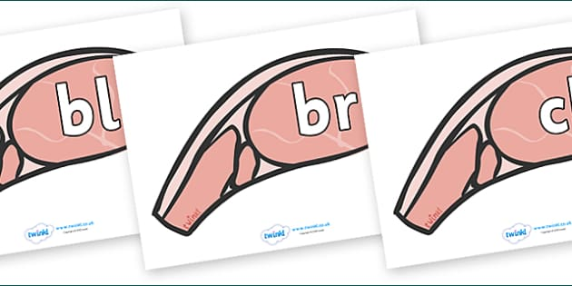 Initial Letter Blends on Bacon - Initial Letters, initial letter, letter blend, letter blends, consonant, consonants, digraph, trigraph, literacy, alphabet, letters, foundation stage literacy