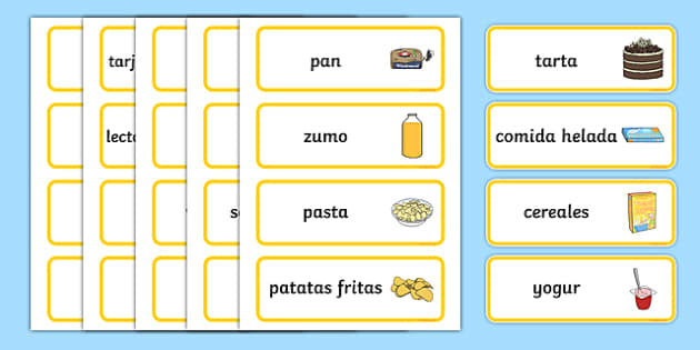 Supermarket Word Cards Spanish-Spanish