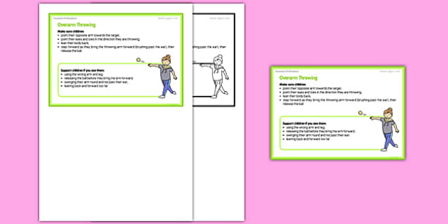 Foundation PE (Reception) - Overarm Throwing Teacher Support Card - EYFS, PE, Physical Development