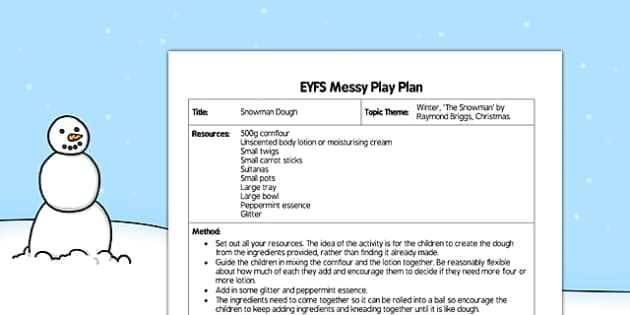 Snowman Dough Messy Play Plan - messy play, card, dough, snowman, eyfs, plan