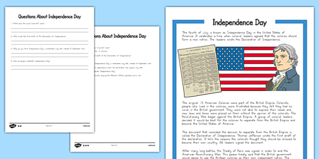 Independence Day Differentiated Reading Comprehension Sheets - usa, america, Independence Day, reading comprehension