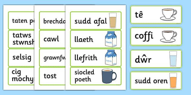 Cardiau Fflach  'Bwyd' - food, word cards, flashcards, cards, Welsh, Wales, languages, different food,cymru