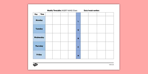 Nursery Weekly Timetable - nursery, weekly timetable, weekly, timetable
