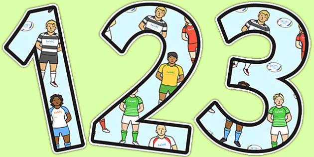 Rugby Themed A4 Display Numbers - rugby, display numbers, display