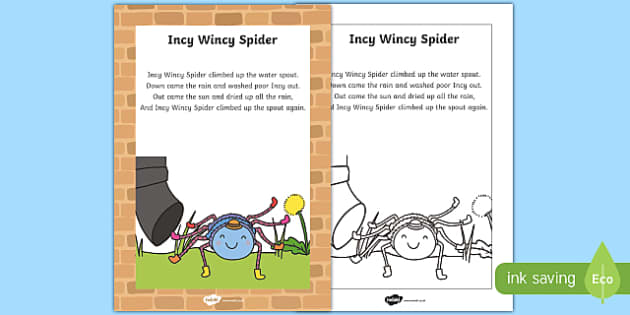 Incy Wincy Spider Nursery Rhyme Poster - rhymes, display, poems