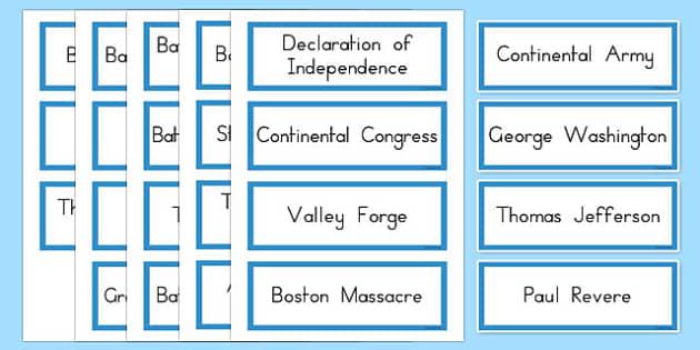 Revolutionary War Word Cards - US Resources, Revolutionary War, Vocabulary