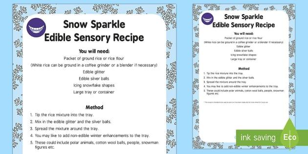Snow Sparkle Edible Sensory Recipe - The Snowman, Raymond Briggs, Christmas, winter, sensory play, edible sensory, snow, snowman