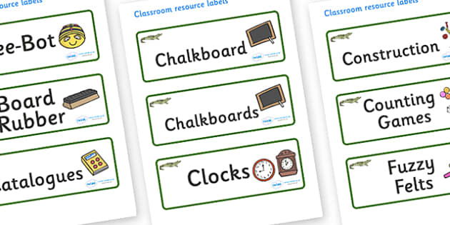 Crocodile Themed Editable Additional Classroom Resource Labels - Themed Label template, Resource Label, Name Labels, Editable Labels, Drawer Labels, KS1 Labels, Foundation Labels, Foundation Stage Labels, Teaching Labels, Resource Labels, Tray Labels