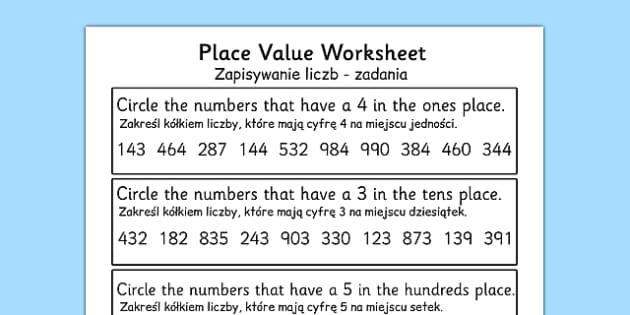 Place Value Worksheet 3 Digits Polish Translation - polish, place value, worksheet, 3 digits
