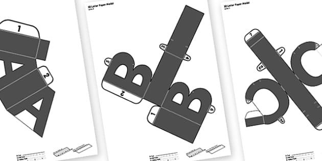 3D Display Letters Paper Models Blank - paper, models, 3d, letter