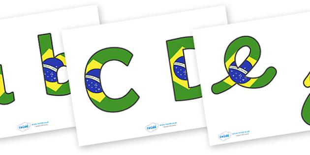 Brazilian Flag Display Lettering (Lowercase) - Brazilian Flag Display Lettering, brazil, display lettering, lowercase, alphabet, A-Z, A4, display, Alphabet frieze, Display letters, Letter posters, A-Z letters, Alphabet flashcards