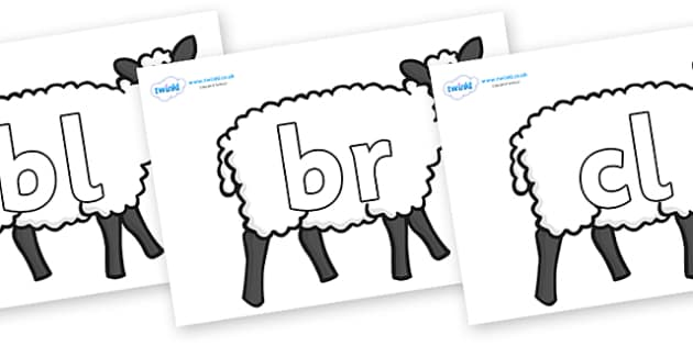 Initial Letter Blends on Sheep - Initial Letters, initial letter, letter blend, letter blends, consonant, consonants, digraph, trigraph, literacy, alphabet, letters, foundation stage literacy