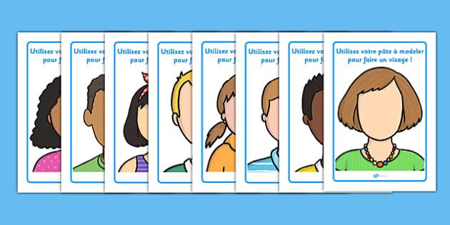 Faces Playdough Mats French - faces, playdough, mats, french, playdough mats