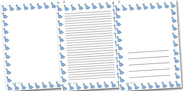 Cute Dinosaur Portrait Page Borders- Portrait Page Borders - Page border, border, writing template, writing aid, writing frame, a4 border, template, templates, landscape