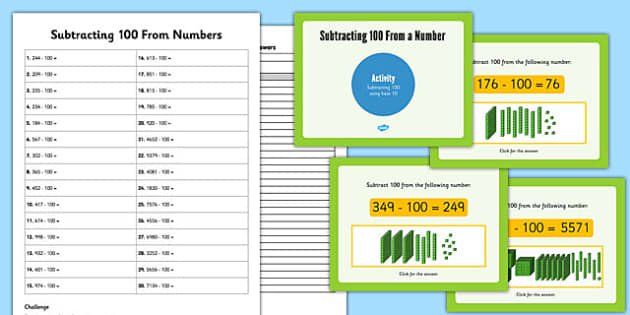 Subtracting 100 Lessons 3 and 4 Teaching Pack - subtracting, 100, lessons, teaching, pack
