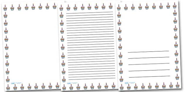 Birthday Bun Portrait Page Borders- Portrait Page Borders - Page border, border, writing template, writing aid, writing frame, a4 border, template, templates, landscape