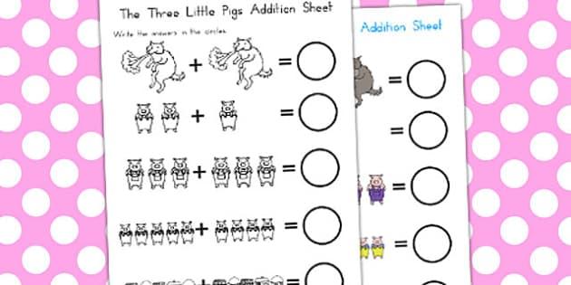 The Three Little Pigs Addition Sheet - australia, addition, sheet