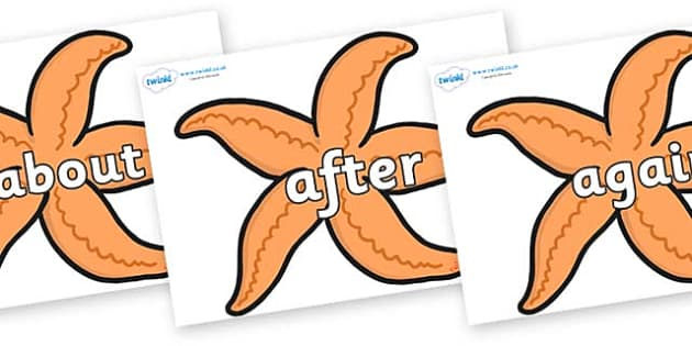 KS1 Keywords on Starfish - KS1, CLL, Communication language and literacy, Display, Key words, high frequency words, foundation stage literacy, DfES Letters and Sounds, Letters and Sounds, spelling