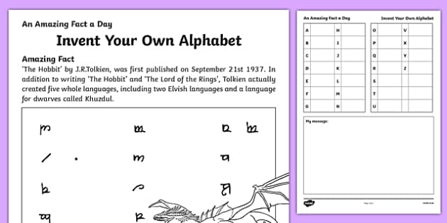 Invent Your Own Alphabet Activity Sheet, worksheet