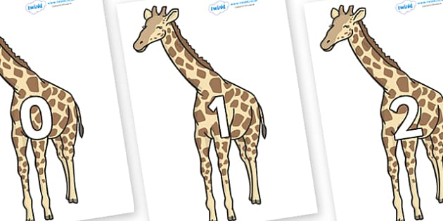 Numbers 0-100 on Giraffe - 0-100, foundation stage numeracy, Number recognition, Number flashcards, counting, number frieze, Display numbers, number posters
