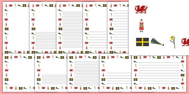 Taflenni gyda Borderi Dydd Gŵyl Dewi - Dewi Sant, dydd gwyl dewi, ysgrifennu, cymru,Welsh