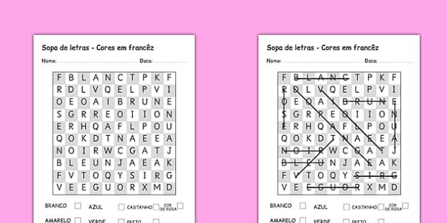 Sopa de letras - Cores Portuguese Translation - portuguese, colours, word search, wordsearch